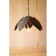 antique brass tropical leaves pendant light