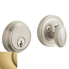View Product - Satin Brass and Brown Traditional Deadbolt