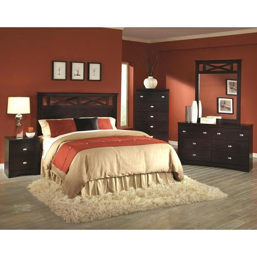 Tyler Collection Full/Queen Panel Headboard in Merlot Finish
