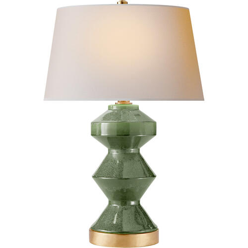 Visual Comfort - E. F. Chapman Weller Zig-zag 27 inch 150.00 watt Shellish Kiwi Table Lamp Portable Light, E.F. Chapman, Zig-Zag, Natural Paper Shade