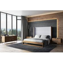Modrest Heloise - Contemporary Grey Fabric & Walnut Trim Bed