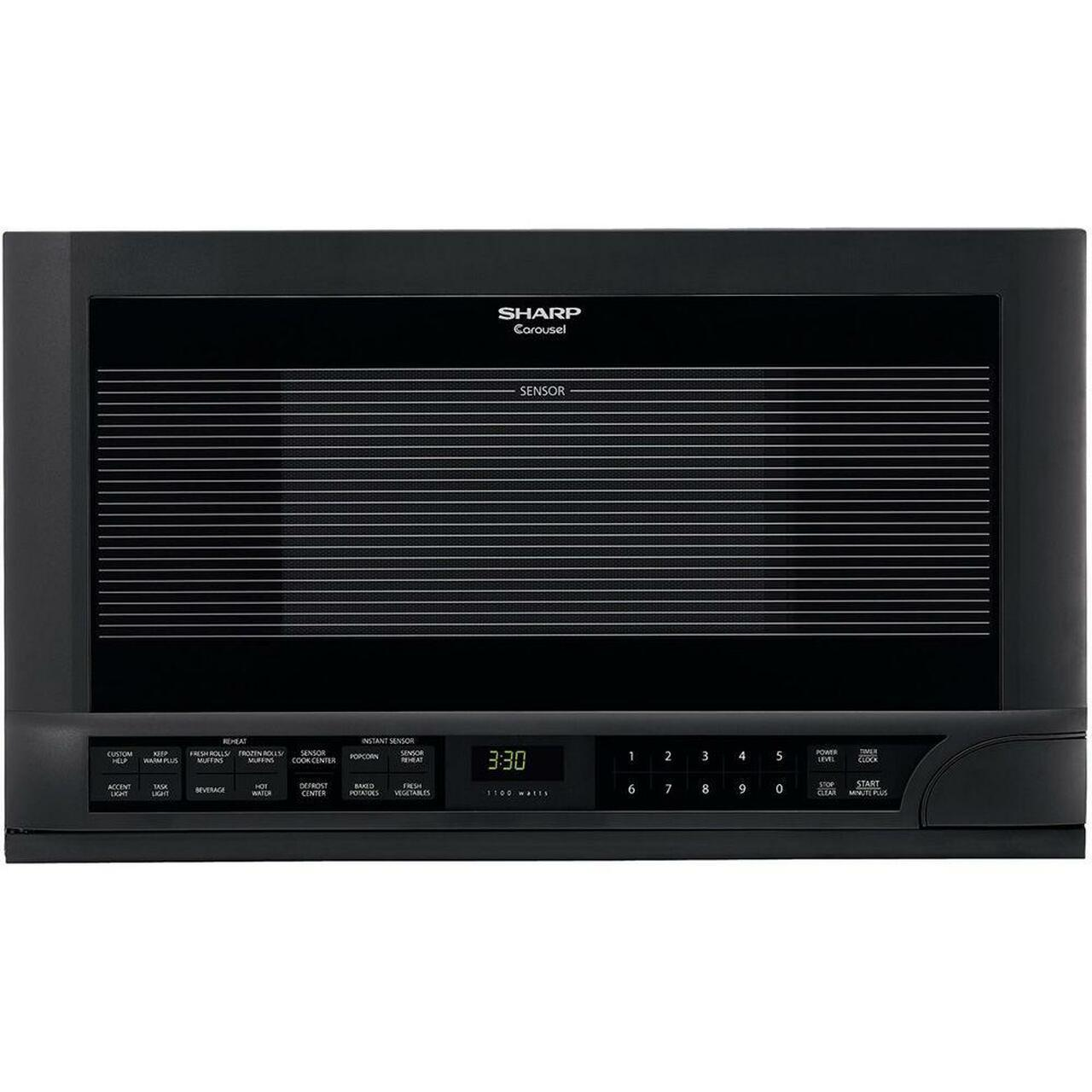 1.5 cu. ft. 1100W Black Sharp Over-the-Counter Carousel Microwave Oven