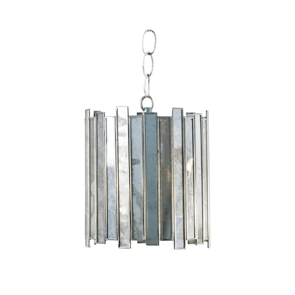 You'll Want To Linger Longer Under the Light of Our Delicate Mini Pendant. Antique Mirror Facets Are Offset In A Circular Design That Will Light Up Any Room. Includes 3' Matching Chain and Canopy.