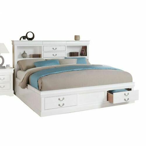 ACME Louis Philippe III Queen Bed w/Storage - 24490Q - White
