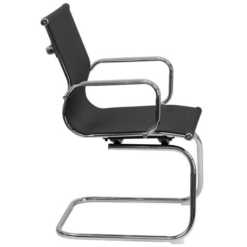 Alamont Furniture - Transparent Black Mesh Side Reception Chair with Chrome Sled Base