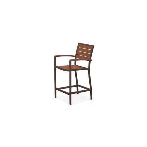 Polywood Furnishings - Eurou2122 Counter Arm Chair in Textured Bronze / Teak