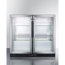 Commercial Back Bar Beverage Center for Freestanding Use Designed for the Display and Refrigeration of Beverages and Sealed Food, With Locks, Digital Thermostats, and Glass Doors In A French Door Swing