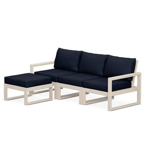 Polywood Furnishings - EDGE 4-Piece Modular Deep Seating Set with Ottoman in Sand / Marine Indigo
