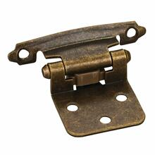"""See Details - Traditional 1/2"""" Overlay Hinge with Screws - Antique Brass"""