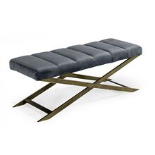 View Product - Modrest Xane - Contemporary Dark Grey & Antique Brass Bench