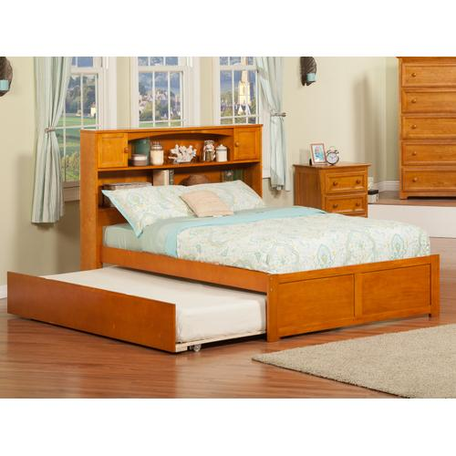 Newport Full Flat Panel Foot Board with Urban Trundle Caramel Latte