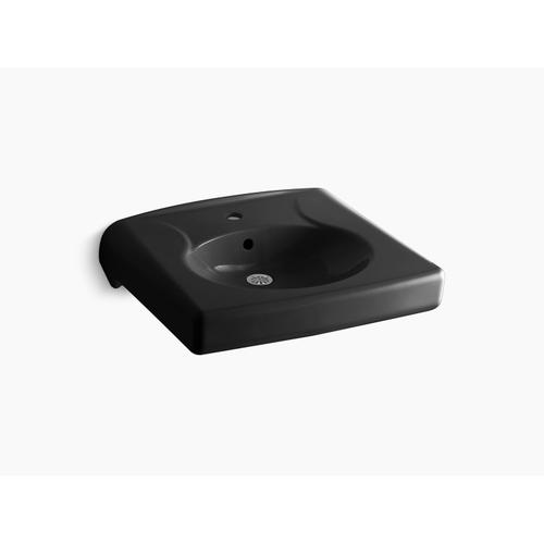 Black Black Wall-mounted or Concealed Carrier Arm Mounted Commercial Bathroom Sink With Single Faucet Hole