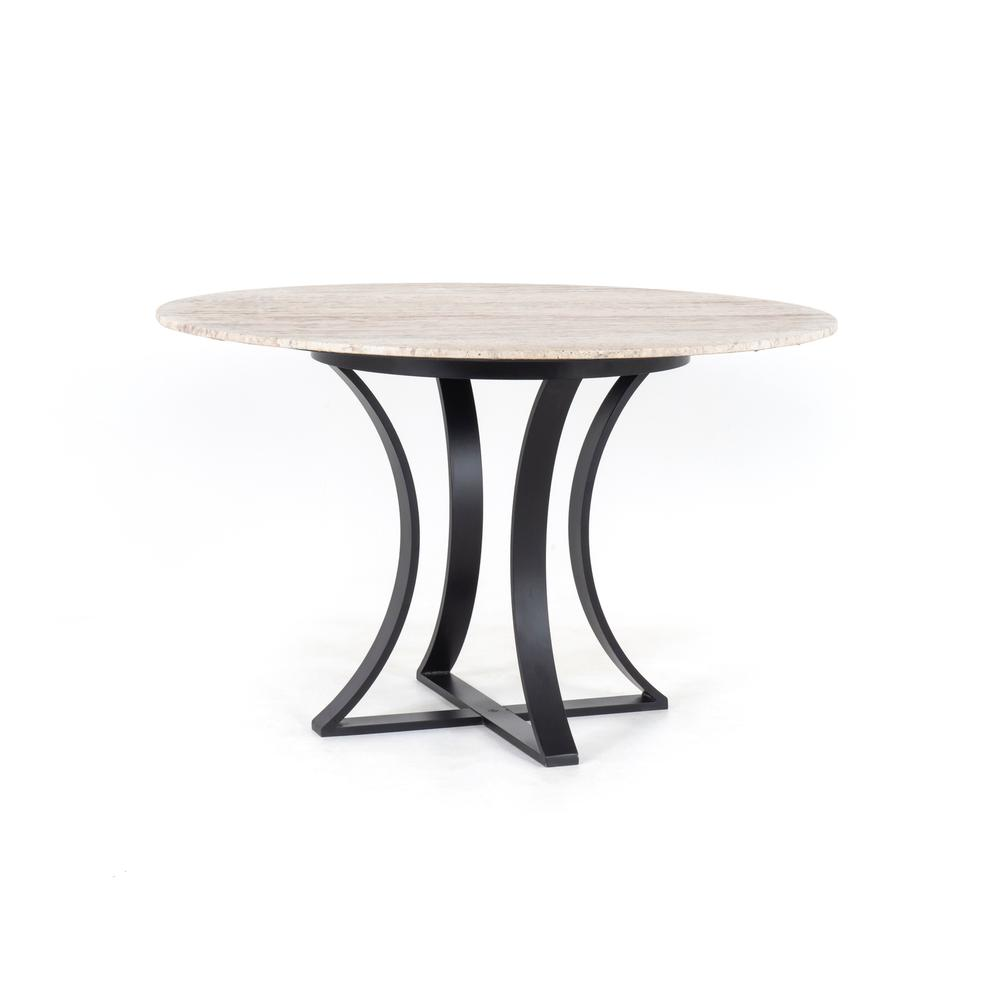 """See Details - White Travertine Finish 48"""" Size Gage Dining Table"""