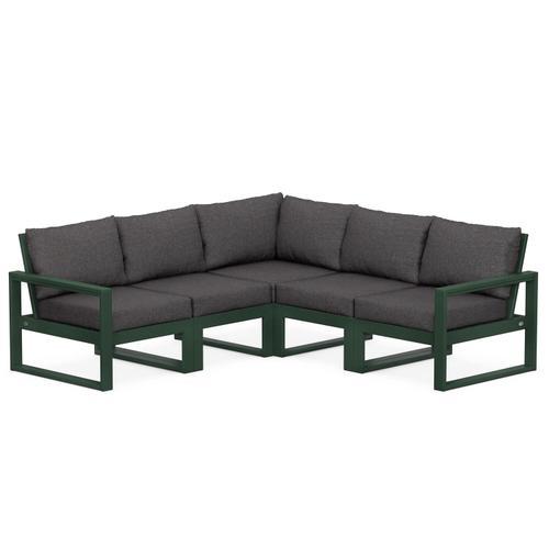 Polywood Furnishings - EDGE 5-Piece Modular Deep Seating Set in Green / Ash Charcoal