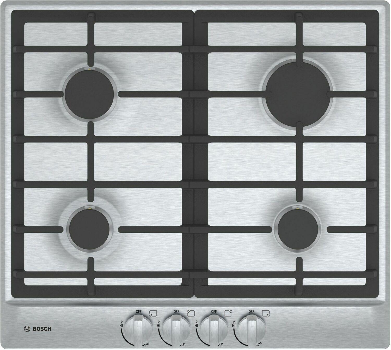 "Bosch500 Series, 24"" Gas Cooktop, 4 Burners, Stainless Steel"