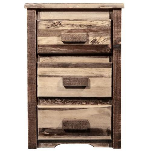 Homestead Collection Nightstand with 3 Drawers, Stain and Lacquer Finish