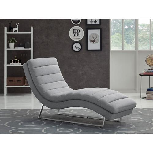VIG Furniture - Divani Casa Auburn Modern Contemporary Plush Grey Fabric Lounge Chaise