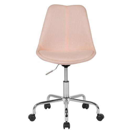 Mid-Back Pink Fabric Task Chair with Pneumatic Lift and Chrome Base