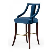 Modrest Kimball - Glam Blue Velvet Bar Stool