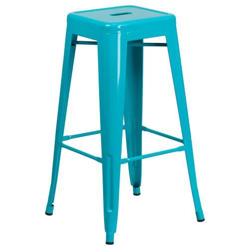 30'' High Backless Crystal Teal-Blue Indoor-Outdoor Barstool