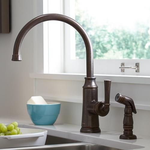 American Standard - Portsmouth 1-Handle High-Arc Kitchen Faucet with Side Spray - Oil Rubbed Bronze