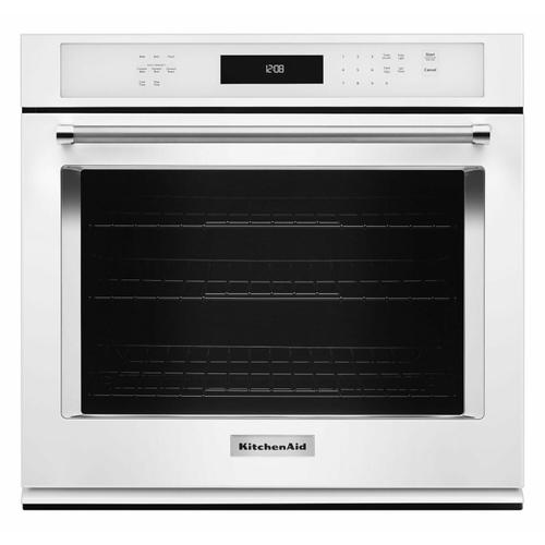 """KitchenAid - 30"""" Single Wall Oven with Even-Heat™ True Convection - White"""