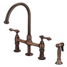 Harding Kitchen Bridge Faucet with Sidespray and Metal Lever Handles - Oil Rubbed Bronze