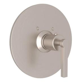 Lombardia Thermostatic Trim Plate without Volume Control - Satin Nickel with Metal Lever Handle