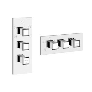 """TRIM PARTS ONLY External parts for 5-way thermostatic diverter with volume control Single backplate High capacity 3/4"""" connections Vertical/Horizontal application Anti-scalding Requires in-wall rough valve 39601 Product Image"""