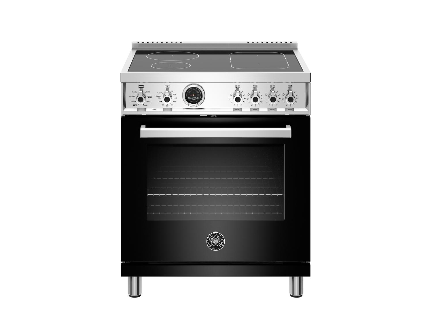 Bertazzoni30 Inch Induction Range, 4 Heating Zones, Electric Self-Clean Oven Nero