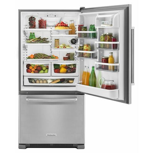 KitchenAid - 22 cu. ft. 33-Inch Width Full Depth Non Dispense Bottom Mount Refrigerator - Stainless Steel