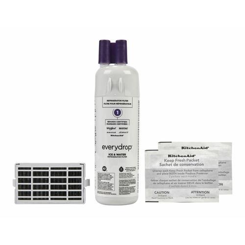 KitchenAid - Everydrop® Refrigerator Water Filter 1 - EDR1RXD1 (Pack Of 1) + Refrigerator FreshFlow™ Air Filter + FreshFlow Produce Preserver Refill - Multi-Pack
