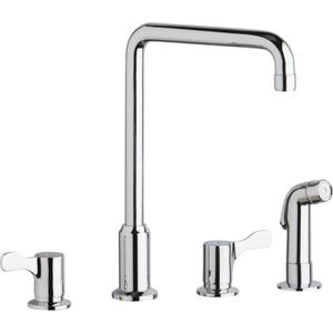 """Elkay 8"""" Centerset Concealed Deck Mount Faucet with Arc Spout and 2-5/8"""" Lever Handles with Side Spray Chrome Product Image"""