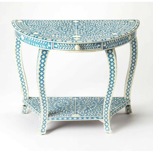 Butler Specialty Company - This Demilune console table with intricate bone inlays is a piece of functional art. Crafted from merranti wood solids, resin and wood products by highly skilled artisans, it boasts a captivating botanic pattern formed from thousands of hand-cut and painstakingly shaped pieces of bone inlaid against a sea of blue. A beautiful addition in the living room, hallway or entryway, it features a small storage drawer and bottom display shelf.