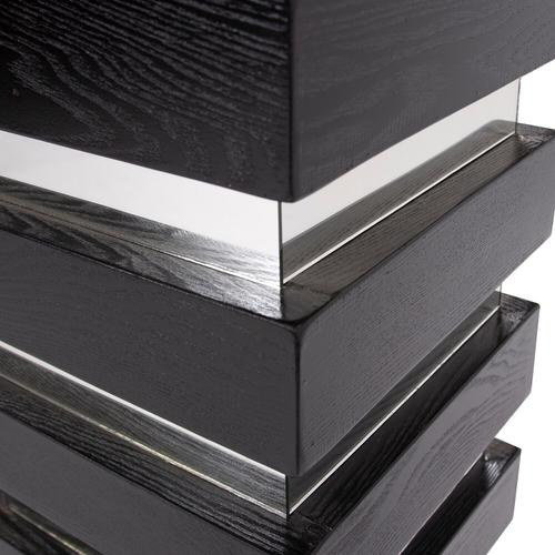Howard Elliott - Stepped Black Wood Veneer Pedestal with Mirror - Tall