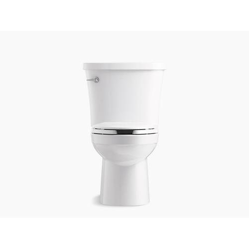 White Two-piece Elongated 1.28 Gpf Toilet With Tank Cover Locks