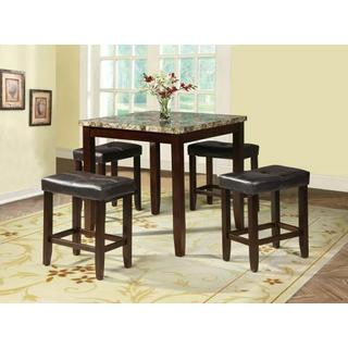 ACME Rolle 5Pc Pack Counter Height Set - 71090 - Faux Marble & Espresso