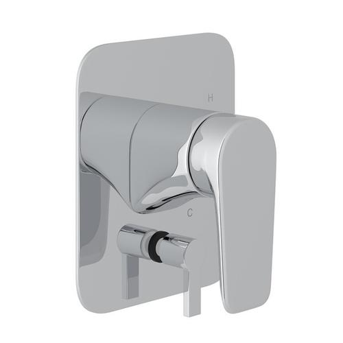 Polished Chrome Perrin & Rowe Hoxton Pressure Balance Trim With Diverter with Hoxton Metal Lever