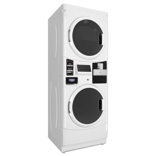 Commercial Electric Super-Capacity Stack Washer/Dryer, Coin Drop-Ready White