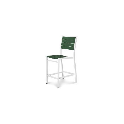 Polywood Furnishings - Eurou2122 Counter Side Chair in Satin White / Green