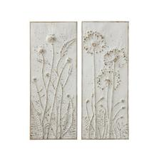 """See Details - 14-1/4""""L x 36-1/4""""H Metal Wall Decor w/ Embossed Flowers, Distressed White Finish, 2 Styles"""