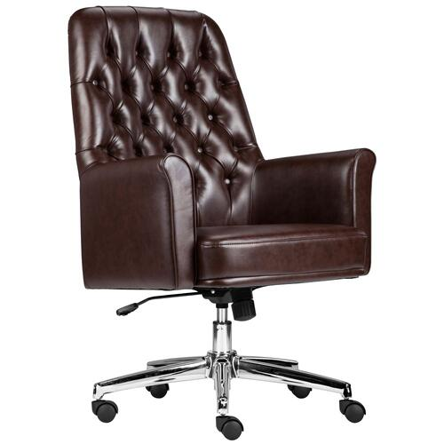 Mid-Back Traditional Tufted Brown Leather Executive Swivel Chair with Arms