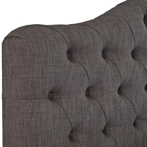 Fashion Bed Group - Moselle Complete Upholstered Bed and Bedding Support System with Adjustable Height Button-Tuft Headboard, French Gray Finish, Queen