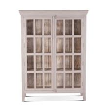 "Coral Gables 52"" Tall Graywash Glass Cabinet"
