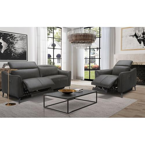 VIG Furniture - Divani Casa Prairie Dark Grey Leather Electric Recliner Chair with Electric Headrest