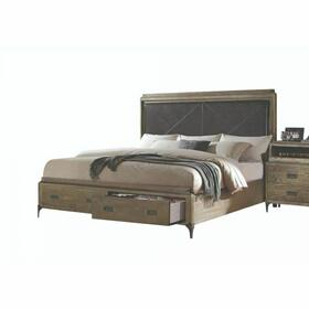 ACME Athouman Queen Bed w/Storage - 23920Q - PU & Weathered Oak