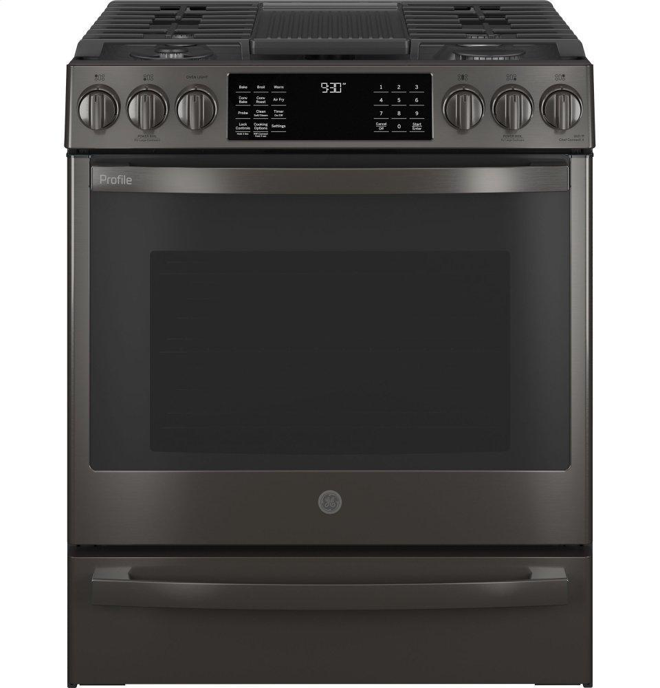 """GEGe Profile™ 30"""" Smart Slide-In Front-Control Gas Range With No Preheat Air Fry"""