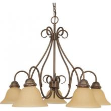 Castillo - 5 Light Chandelier with Champagne Linen Washed Glass - Sonoma Bronze Finish