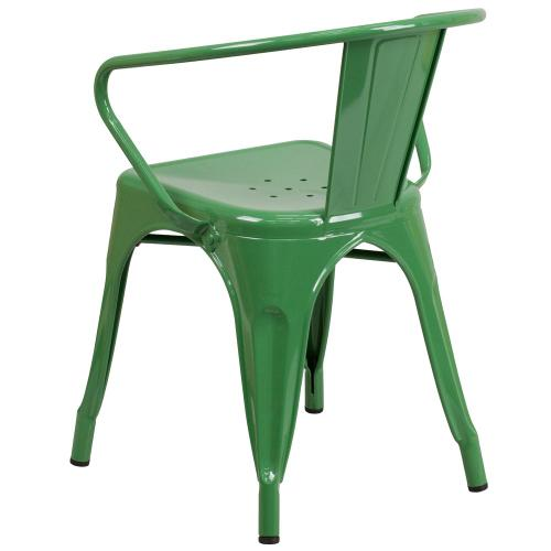 Green Metal Indoor-Outdoor Chair with Arms