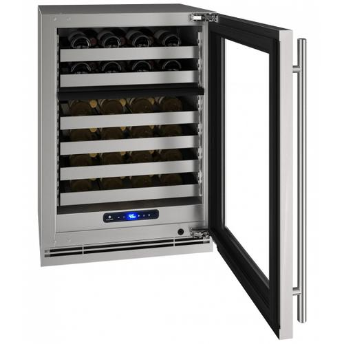 """U-Line - Hwd524 24"""" Dual-zone Wine Refrigerator With Stainless Frame Finish and Field Reversible Door Swing (115 V/60 Hz Volts /60 Hz Hz)"""